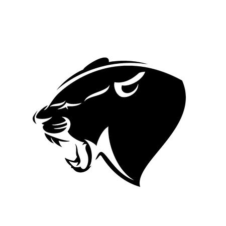 Rycząca głowa profilu pantery