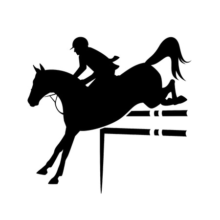 Cavallo e cavaliere che saltano durante la competizione sportiva equestre