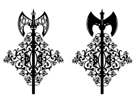Victorious battle axes with rose flowers Vector Illustration