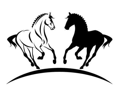 Beau cheval pur-sang avec crinière tressée silhouette et contour noir et blanc Vecteurs