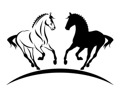 Bellissimo cavallo purosangue con criniera intrecciata silhouette e contorno in bianco e nero Vettoriali
