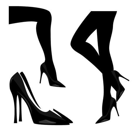 Mujer vistiendo zapatos de tacón alto conjunto de diseño de silueta vectorial en blanco y negro