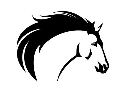 Profile  horse head with flying mane - black and white animal   portrait Ilustração