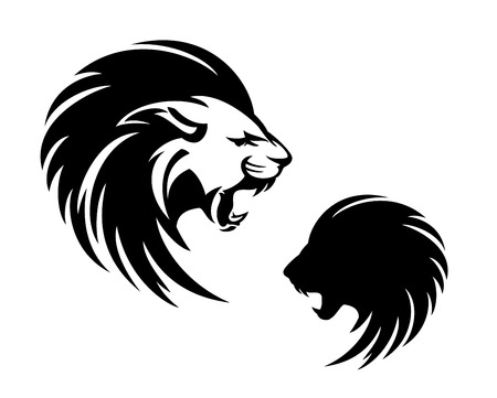 Roaring lion with long mane profile head - furious animal black and white outline and silhouette Vektorové ilustrace