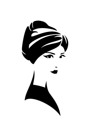 Beautiful woman wearing turban wrapped around her head - traditional national head wear black and white 向量圖像