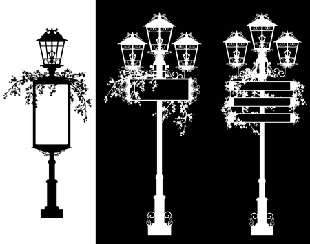 street lights with blank announcement banners and flowers - black and white vector silhouette set