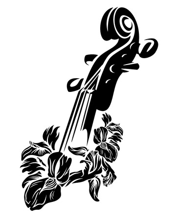 violin neck among iris flowers - classical musical instrument black and white vector floral design