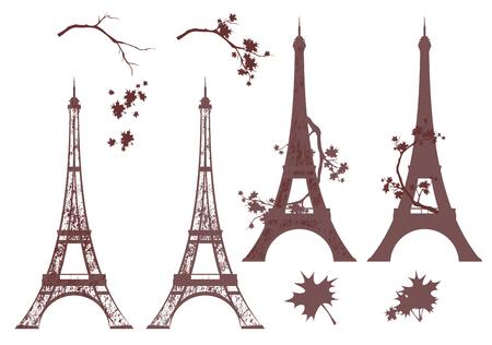 Eiffelturm-Grunge-Silhouette und Herbstahornzweige