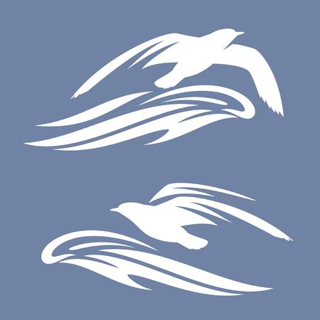 Sea gull bird flying above ocean wave Illustration