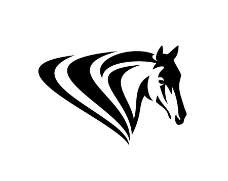 Simple black and white   design of horse head with stylized mane 向量圖像