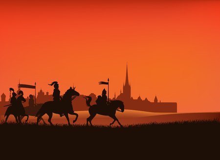 Group of medieval knight guards riding horses in the field with castle city silhouette Standard-Bild - 124243645