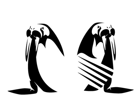 walrus wearing striped sailors shirt - arctic sea life black and white vector design