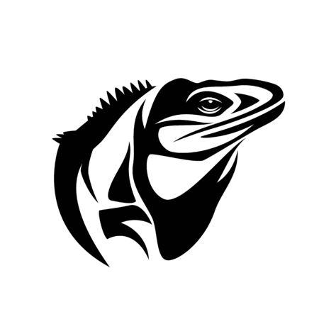 Portrait de profil noir et blanc de lézard iguane Vecteurs