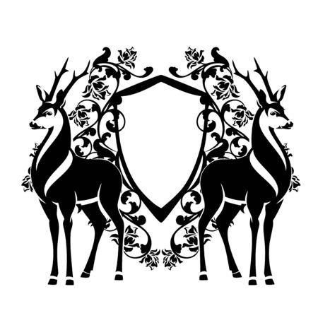 Elegant deer standing by heraldic shields among rose flowers