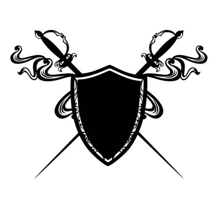Crossed epee swords and heraldic shield with flying ribbons