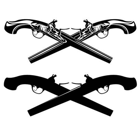 Two crossed antique pistols