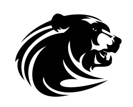 Roaring brown bear head Illustration