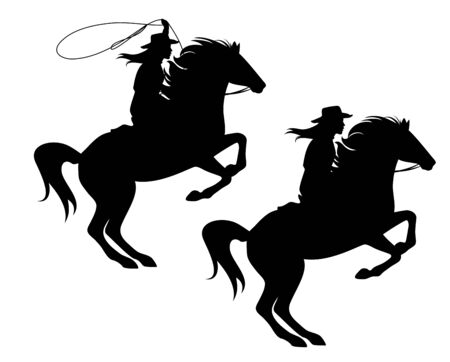 Cowgirl a cavallo e lanciando il lazo