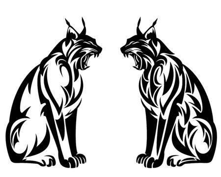 Wild lynx roaring