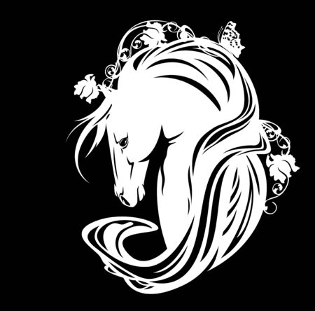 Horse head with long mane, rose flowers and butterfly