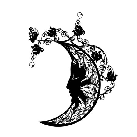 Mezzaluna dormiente tra fiori di rosa e farfalle