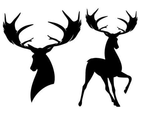 Giant prehistoric irish elk - standing deer with big antlers black  silhouette design