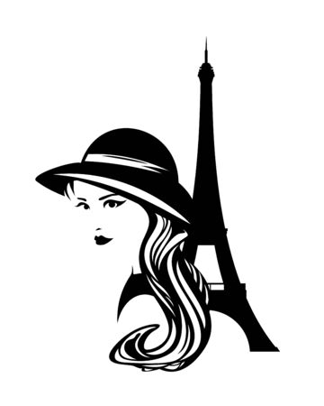 Elegant woman wearing retro style hat with Eiffel tower - black and white vector beauty portrait