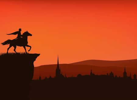 Fairy tale prince riding horse on a cliff above medieval city