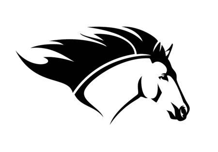 Cavallo selvaggio con criniera volante - testa di stallone in esecuzione semplice disegno vettoriale in bianco e nero