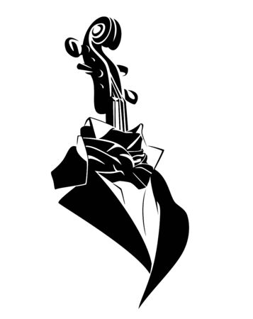 Elegant concert clothing and viola neck inside - professional string musician black and white vector concept design