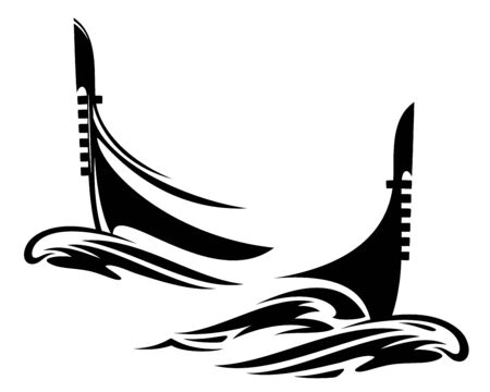 Venetian gondola boat and sea waves - traditional italian vessel black and white vector design