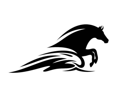 Mythical sea horse jumping in ocean wave - black and white aquatic stallion