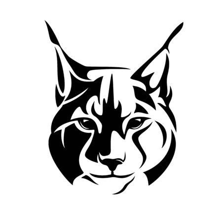 Wild lynx looking straight forward - bobcat en face head black and white Illustration