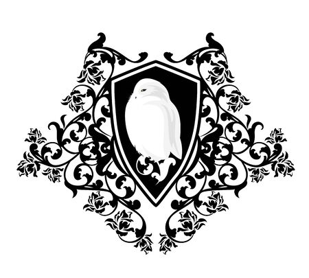 White snowy owl bird in antique heraldic shield among rose flowers
