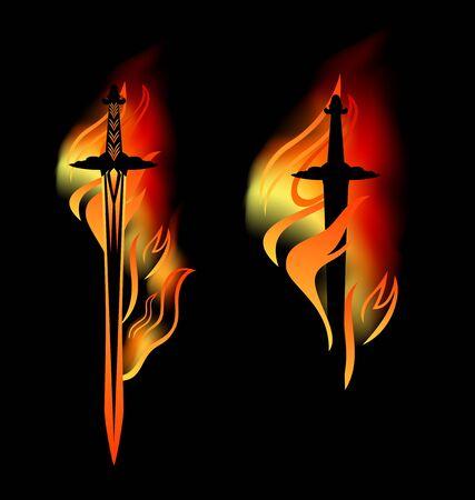 Mittelalterliches Schwert mit brennender Klinge unter Feuerflammen
