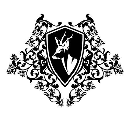Elegant roe deer head inside heraldic shield with rose flowers