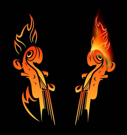 Violin neck among fire flames