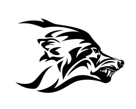 Cabeza de perfil de lobo gruñendo enojado