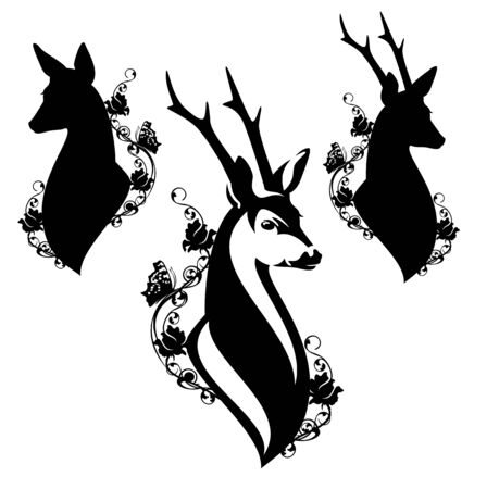 Elegant roe deer head among wild rose flowers and butterflies Stock Illustratie