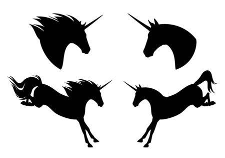 Beautiful unicorn horse jumping forward Stock Illustratie