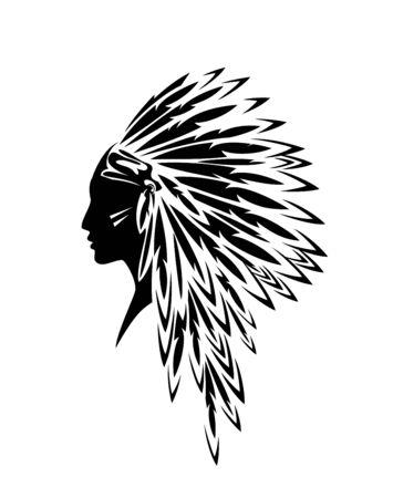 Native American Indian woman wearing coiffure à plumes tribales traditionnelles - portrait de tête de profil noir et blanc
