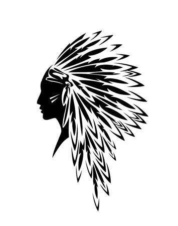 native american indian woman wearing traditional tribal feathered headdress - black and white profile head portrait