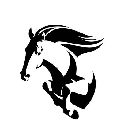 wild mustang horse jumping forward - black and white vector outline of speeding stallion