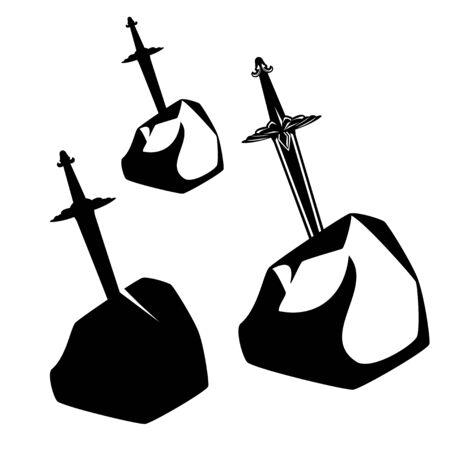 antique blade stuck in stone rock - king arthur legend excalibur sword black and white design