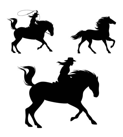 Vaquera montando a caballo y persiguiendo a Mustang con lazo - Wild West rider conjunto de silueta negra