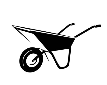 empty garden cart  - wheelbarrow tool black and white outline Stock Illustratie