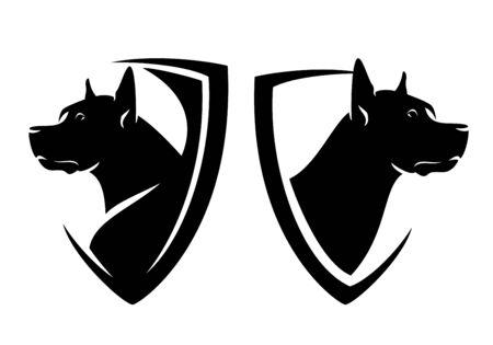 great dane head and heraldic shield - guard dog insignia badge black and white design set Vettoriali