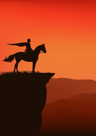 prince with flying cape riding horse standing on high mountain cliff at sunset - fairy tale king silhouette Çizim