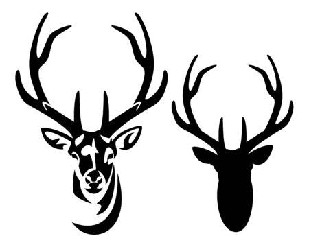 wilder Hirschkopf mit großem Geweih Vorderansicht schwarz-weiße Silhouette und Umriss