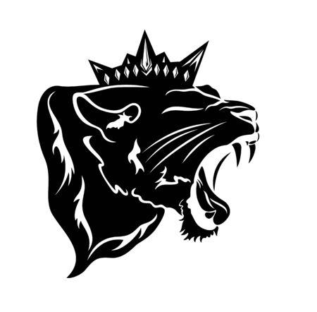 Pantera rugiente con corona real - Leona furiosa retrato de cabeza en blanco y negro Ilustración de vector